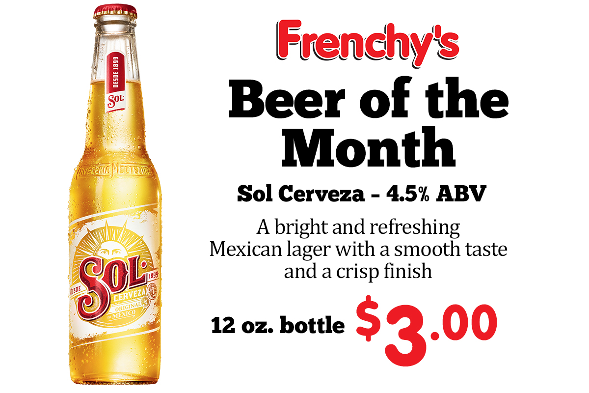 Sol Cerveza – 4.5% ABV - A bright and refreshing Mexican lager with a smooth taste and a crisp finish (12 oz. bottle)$3.00
