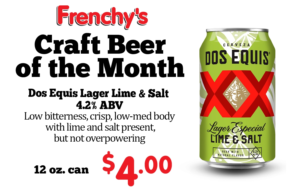 Dos Equis Lager Lime & Salt - 4.2% ABV Low bitterness, crisp, low-med body with lime and salt present, but not overpowering 12 oz. can - 4.00