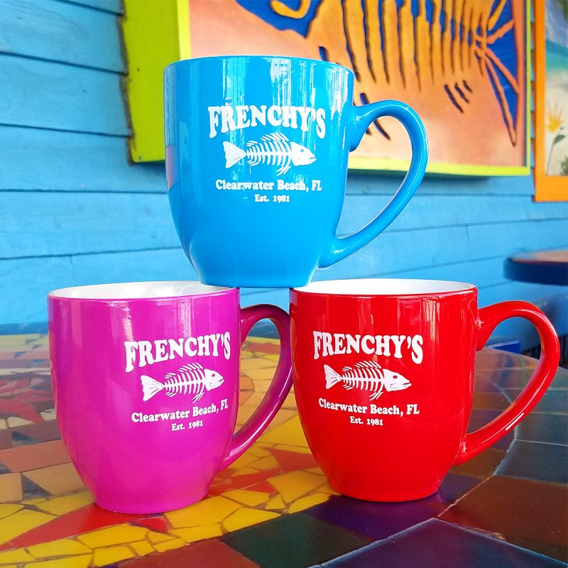 16 oz. Ceramic mugs in vibrant colors with Frenchy's logo.