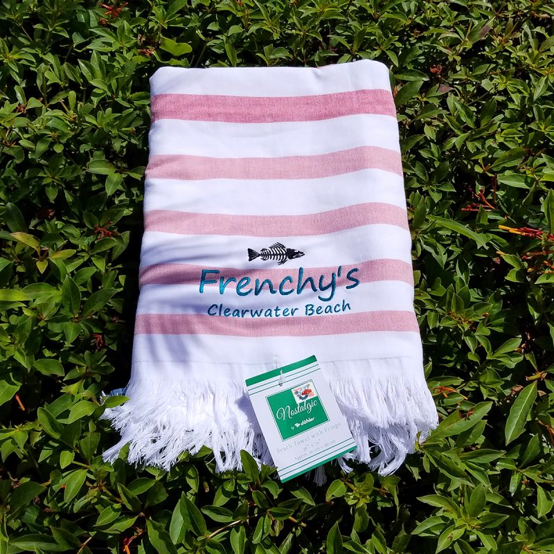 Frenchys Flat Woven Terry Beach Towels with Fringe [red]