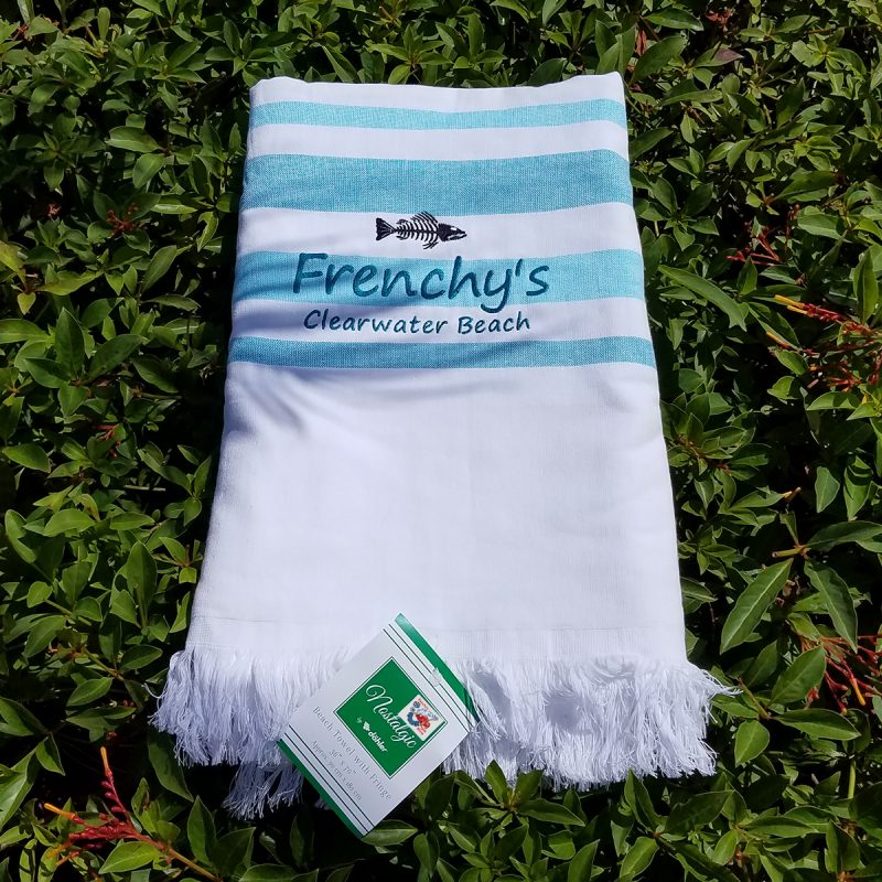 Frenchys Flat Woven Terry Beach Towels with Fringe [turquoise]