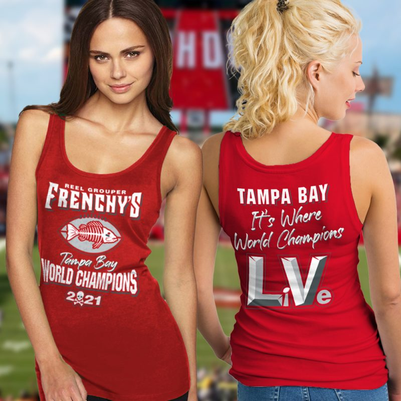Frenchy's Football CHAMPIONS Ladies Tanks - Models showing FRONT and BACK