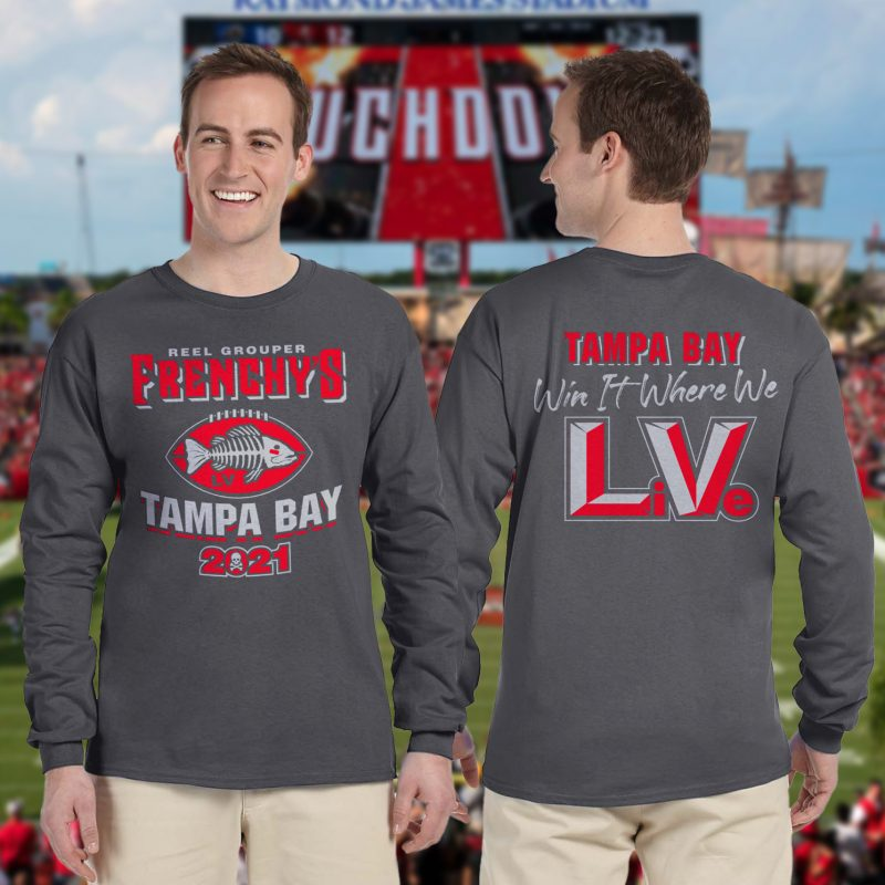 Frenchy's Football LONG SLEEVE T - Models showing FRONT and Back