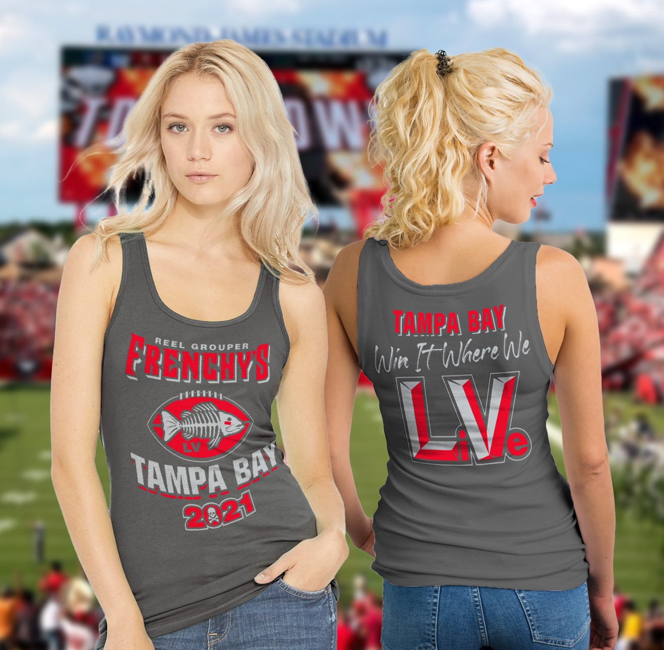 Frenchy's Football Tank Top - Models showing FRONT and Back