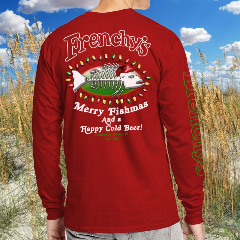 Merry Fishmas 2018 BACK for Red Long Sleeve Tee MODEL