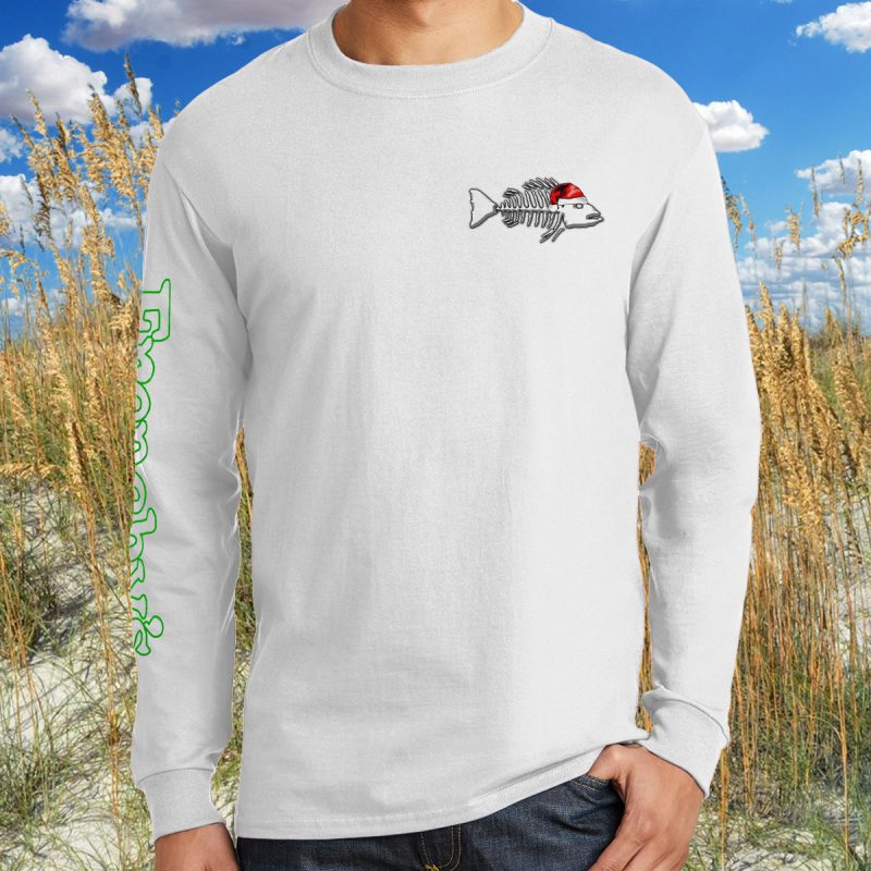 Merry Fishmas 2018 FRONT for White Long Sleeve Tee MODEL