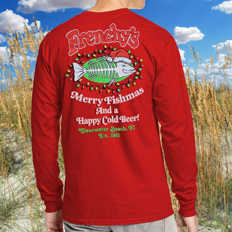 Merry Fishmas 2020 BACK for Red Long Sleeve Tee MODEL