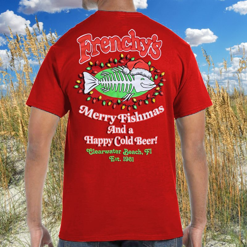 Merry Fishmas 2020 BACK for Red Tee MODEL