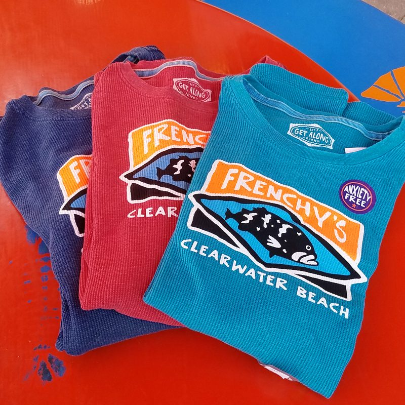 Color selection for pigment-dyed, waffle textured long sleeve tee with Frenchy's design.